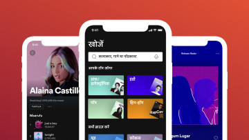 Three mobile screens showing Spotify in different languages