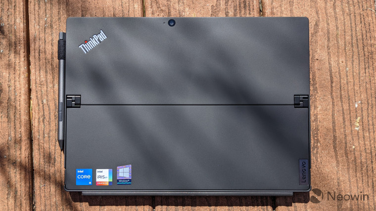 Top-down view of the back of the Lenovo ThinkPad X12 Detachable