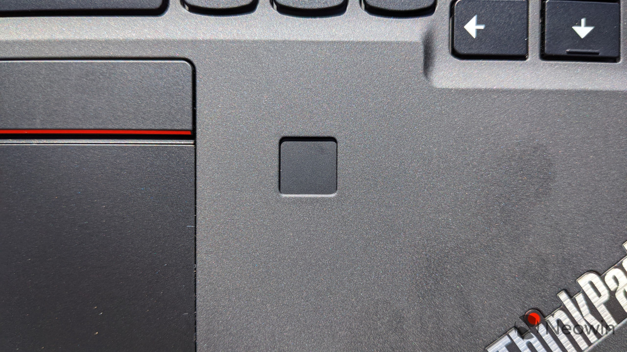 Close-up of ThinkPad X12 Detachable fingerprint sensor