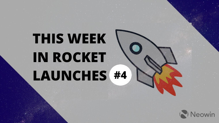 A rocket next to the words This Week in Rocket Launches 4