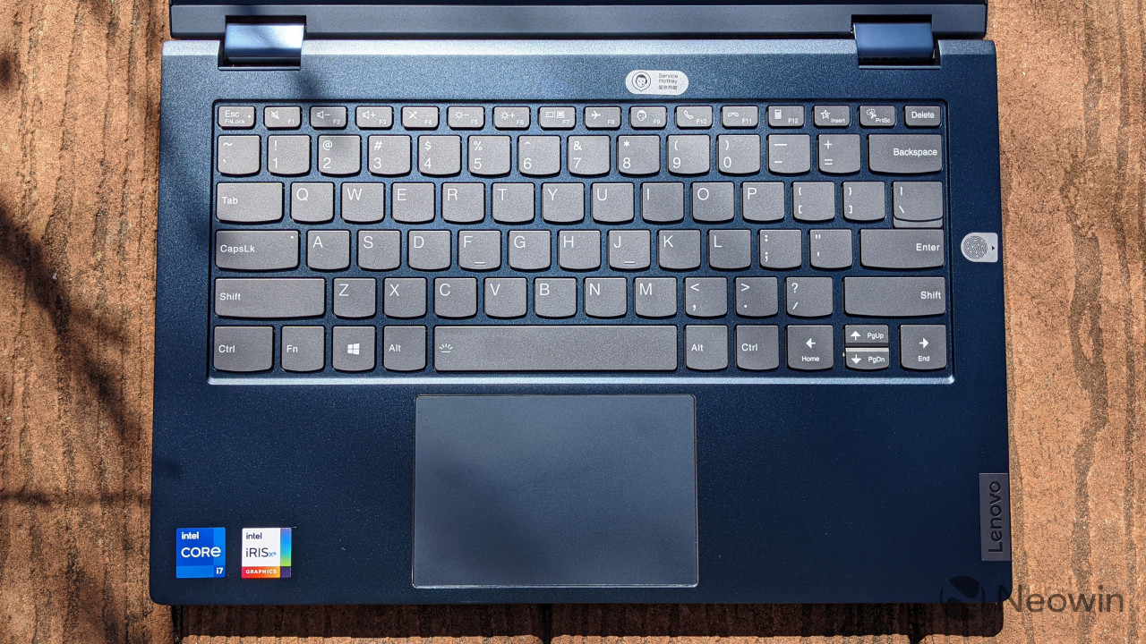 Top-down view of ThinkBook 14s Yoga keyboard