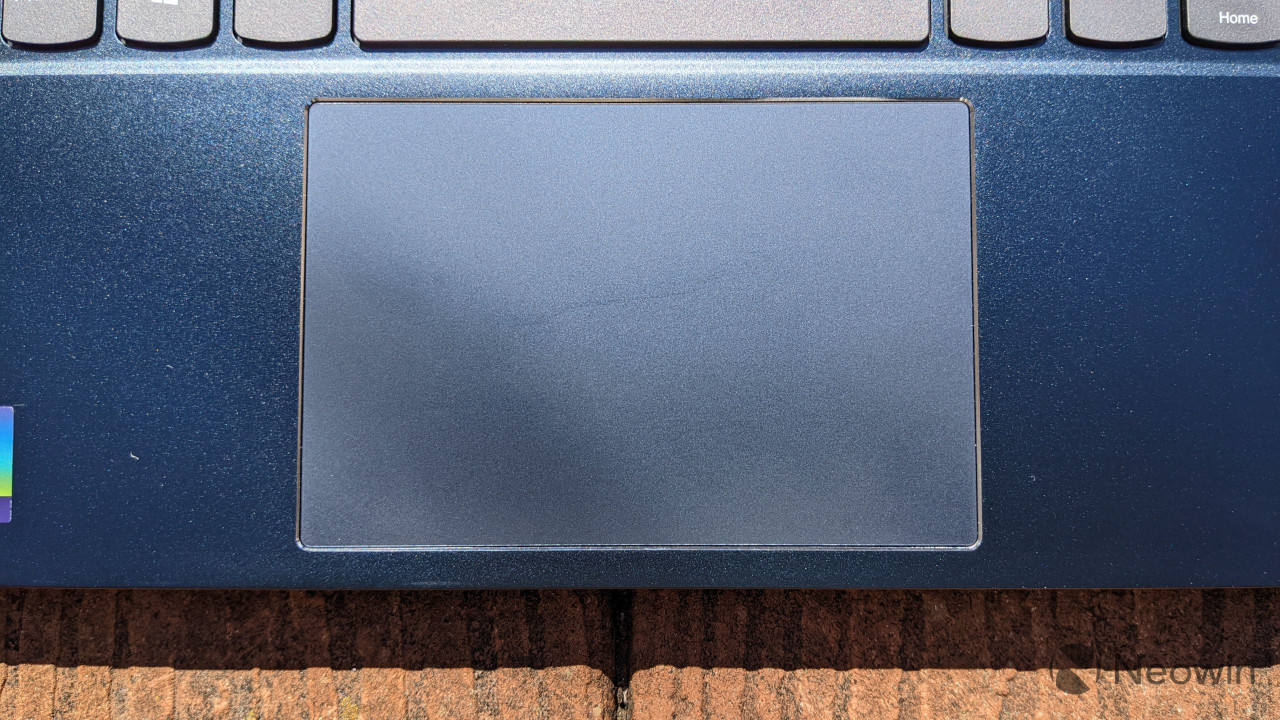 Close-up view of ThinkBook 14s Yoga touchpad