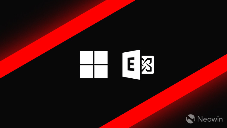 Microsoft and Exchange logos monochrome on dark background