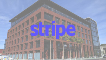 The Stripe logo with the company&039s HQ in the background