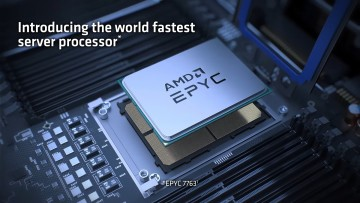 Render of a third-generation Epyc processor with text labelling as the fastest in the world