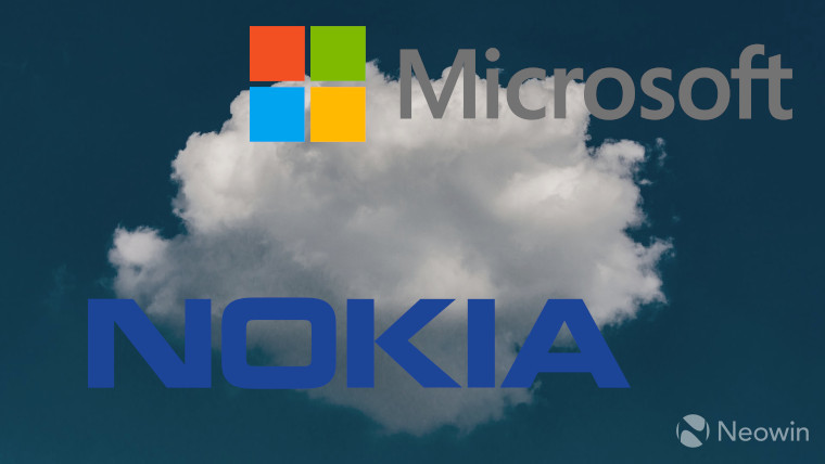 The Microsoft and Nokia logos in front of a cloud