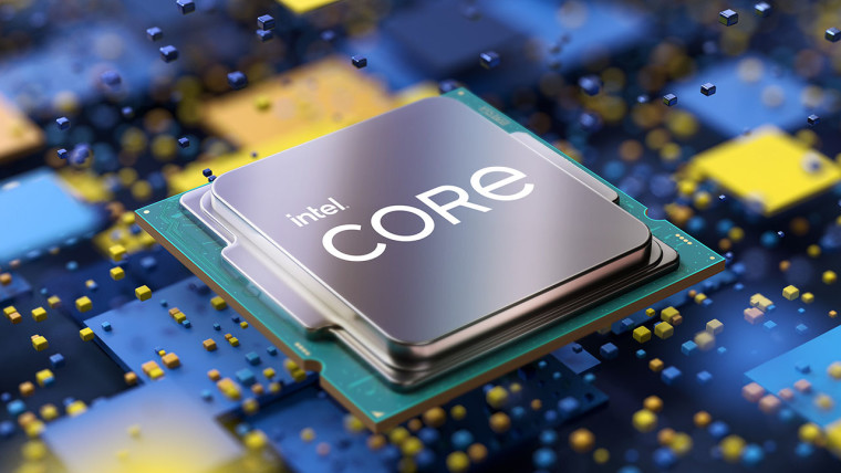 Intel Core text on a CPU mock-up