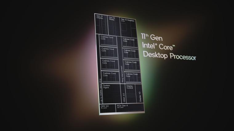Intel 11th-gen Core Desktop Processor text with diagram