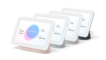 Google Nest hub in pink green grey and black colors
