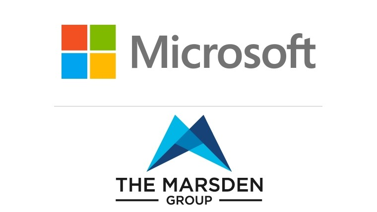 Microsoft and The Marsden Group logos separated by a thin grey line