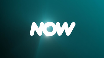 The new NOW logo on a turquoise background