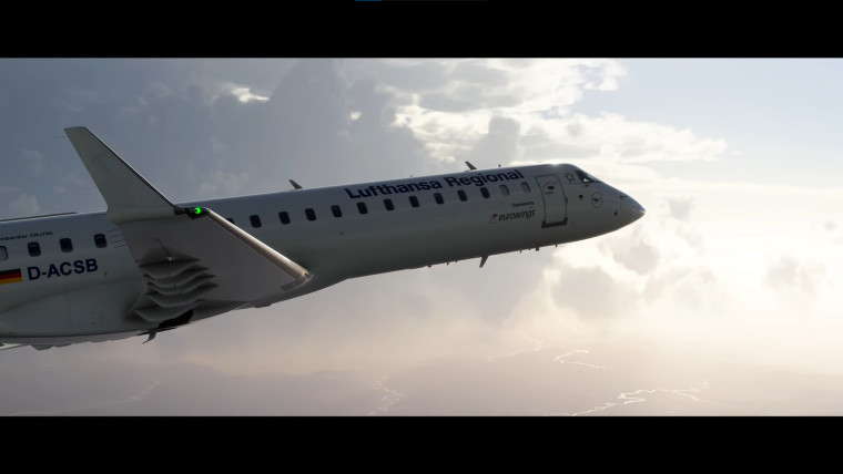The Aerosoft CRJ 550700 flying in the air with the white sky behind it
