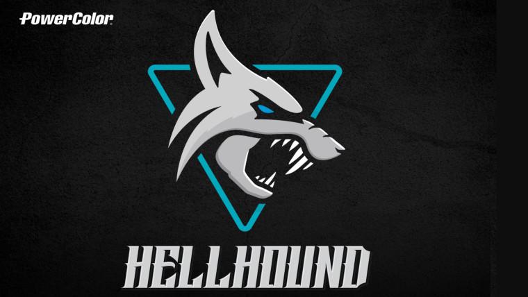 PowerColors Hellhound logo on a black background