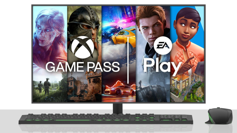 Monitor keyboard and mouse showing EA Play games