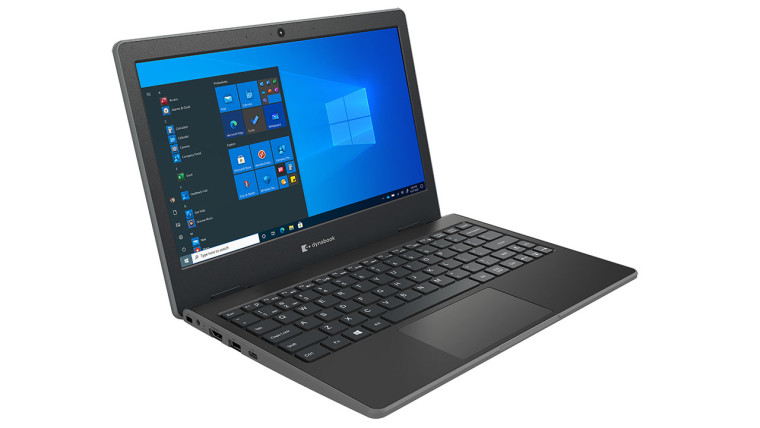 Dynabook E10-S open showing USB and Ethernet ports