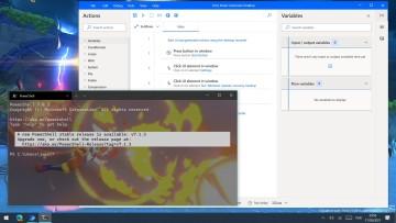A WIndows desktop with Power Automate Desktop and Windows Terminal open