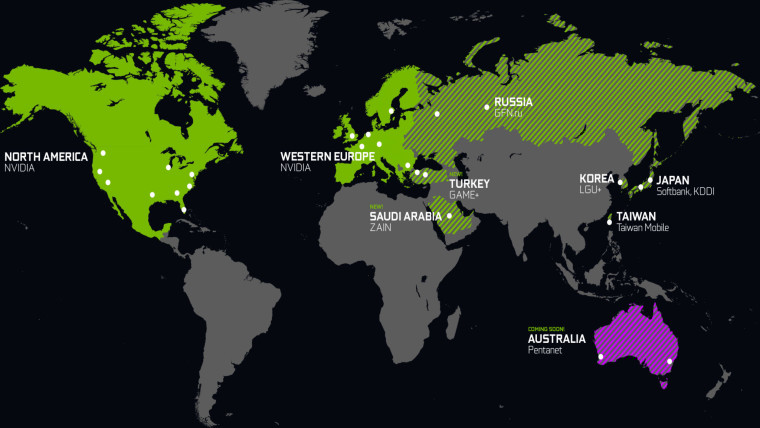 Map showing current new and upcoming regions where GeForce Now is available