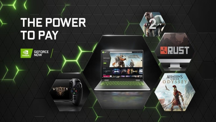 GeForce Now logo next to text reading The Power to Pay