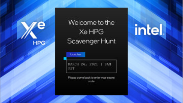 Intel Xe HPG Scavenger site with the event launch date