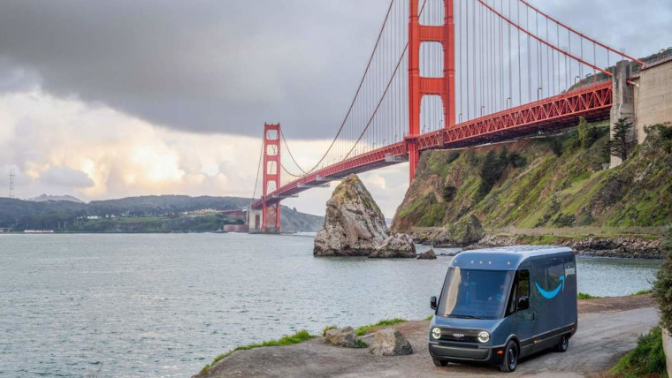An Amazon electric van made by Rivian