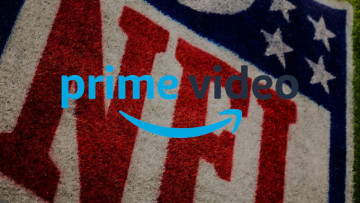 The Amazon Prime Video logo with the NFL logo behind it