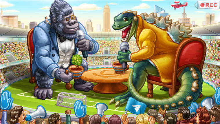 An ape and a dinosaur having an interview in front of a stadium