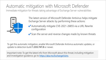 A notification window showing Microsoft Defender&039s mitigation message about Exchange Server
