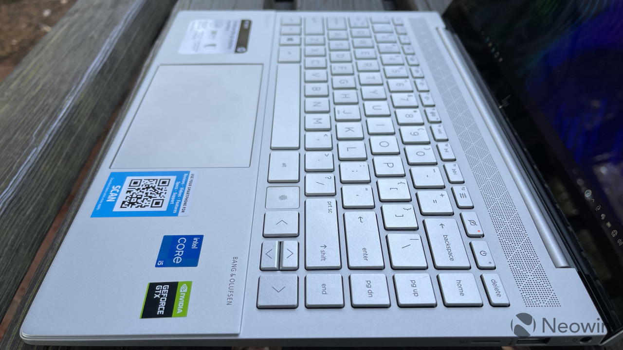 HP Envy 14 angled view of the keyboard