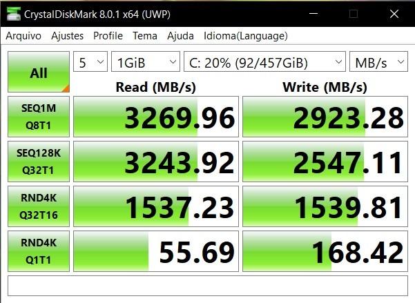 CrystalDiskMark benchmark results
