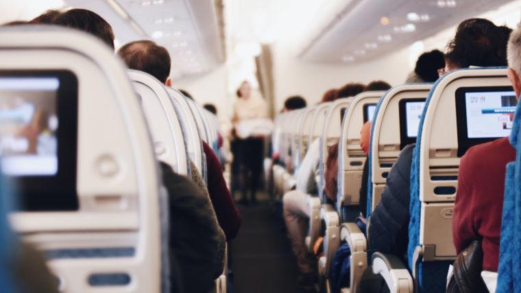 An aisle in an aeroplane