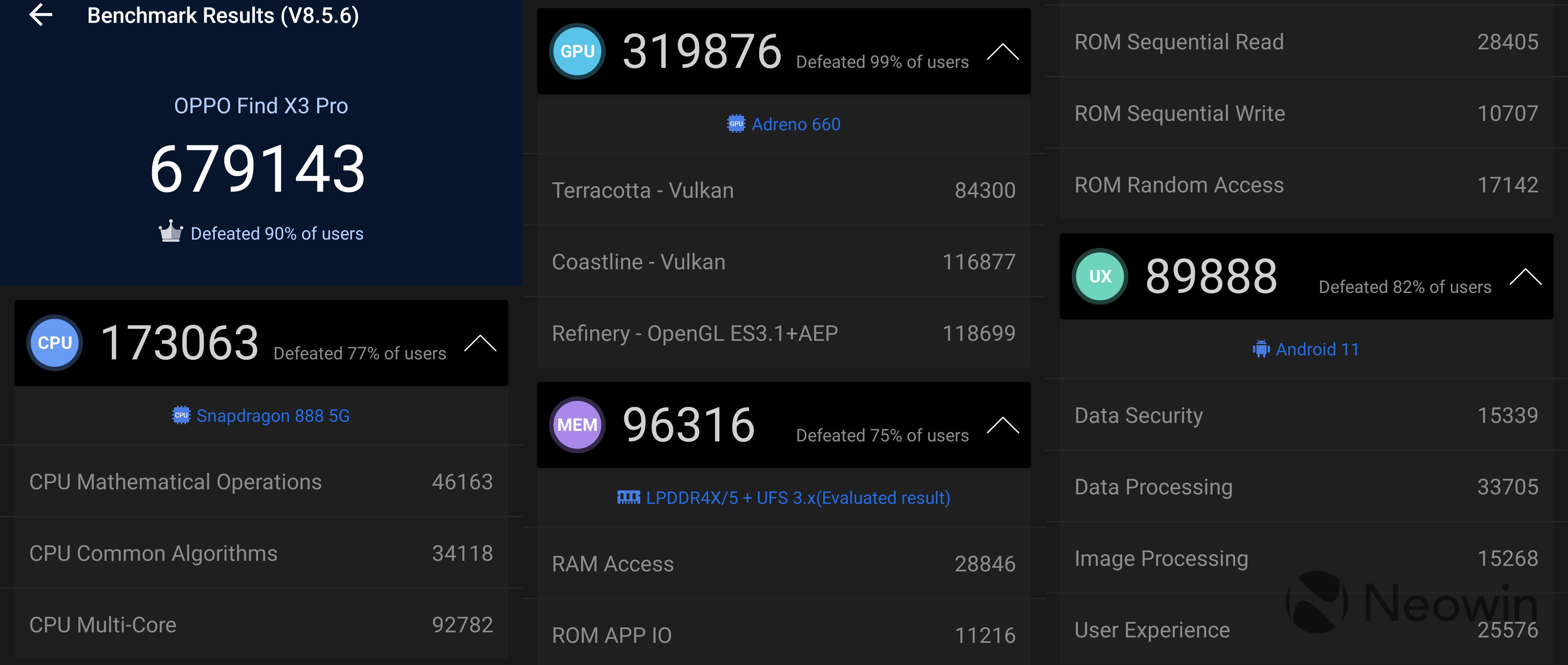 Screenshots of OPPO Find X3 Pro benchmarks