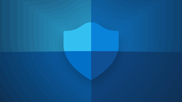 Microsoft Defender Antivirus logo blue on blue background