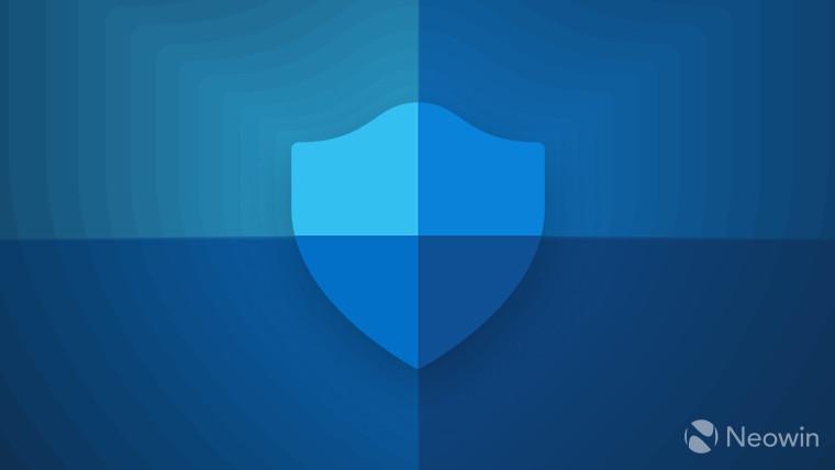 Microsoft Defender Antivirus logo blue on blue background