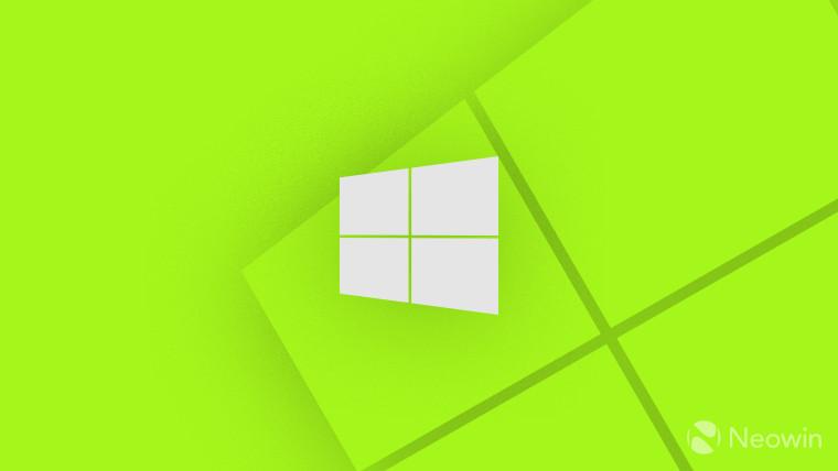 Windows 10 logo monochrome on light green lime background
