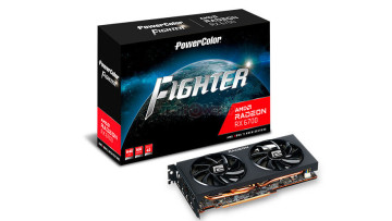 PowerColor RX 6700 Fighter graphics card and packaging box