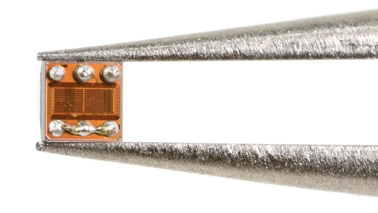 The temperature sensor being held by tweezers