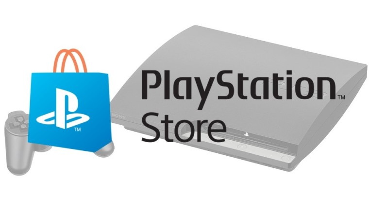 PlayStation Store logo on top of a PlayStation 3 Slim
