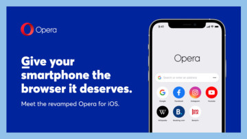 The image shows the rebranded Opera on iOS