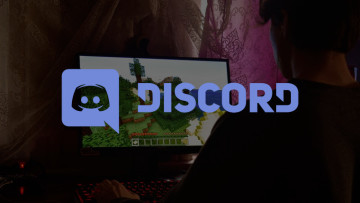 The Discord logo in front of someone playing Minecraft