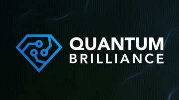 Logo of Quantum Brilliance on blue background