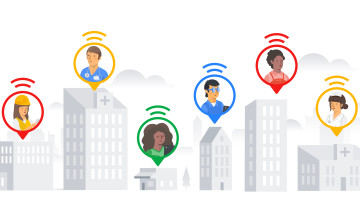 Illustration of various Google Workspace Frontline customers such as health workers first responders