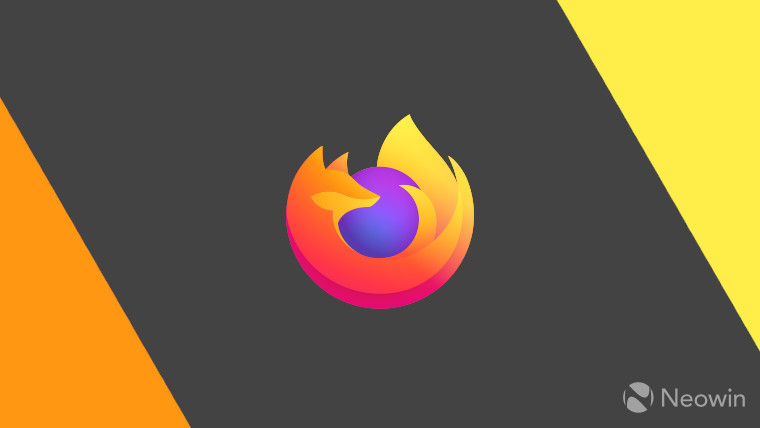 The Firefox logo on a yellow grey and orange background