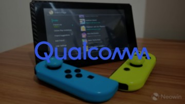 Qualcomm logo on top of a Nintendo Switch