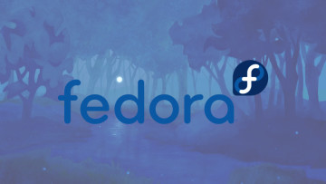 The Fedora logo in front of the Fedora 34 background
