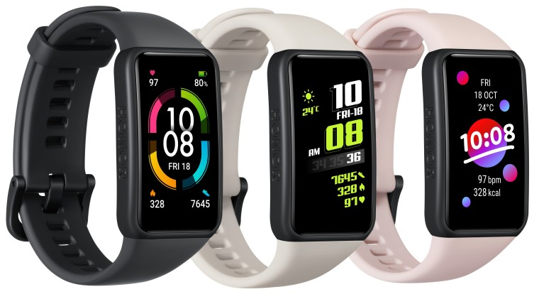 The three color options for the Honor Band 6