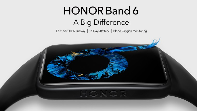 Close-up view of the Honor Band 6 with text reading A Big Difference above it