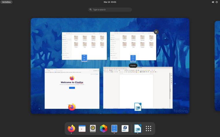 The GNOME shell activities view in Fedora 34