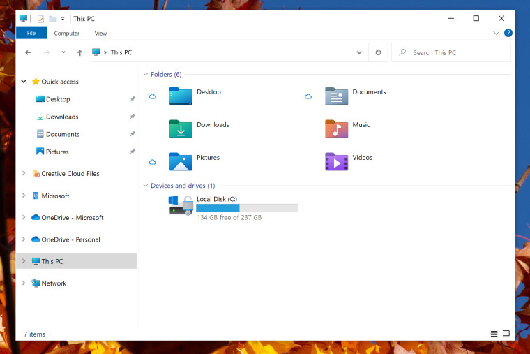 Screenshot of File Explorer with new icons