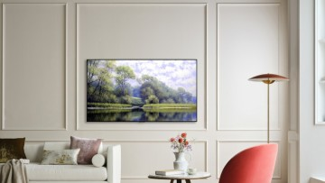 An LG G1 TV mounted on a living room wall