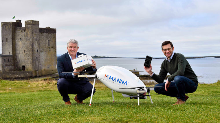 Reps from Samsung and Manna showing off the delivery drone